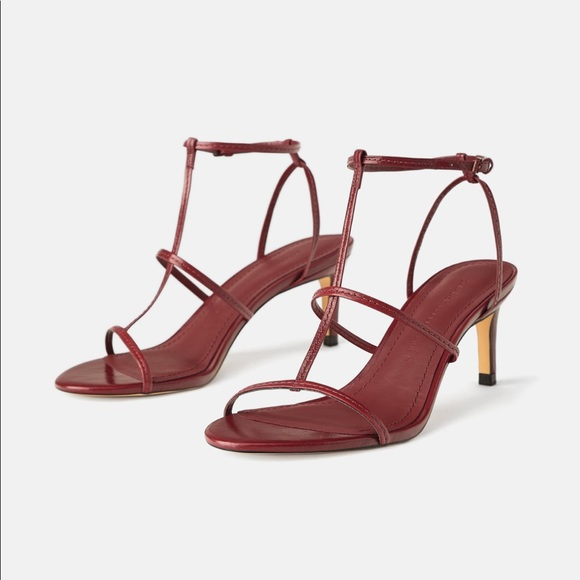 4a620054041 ZARA Leather High Heeled Strappy Sandals